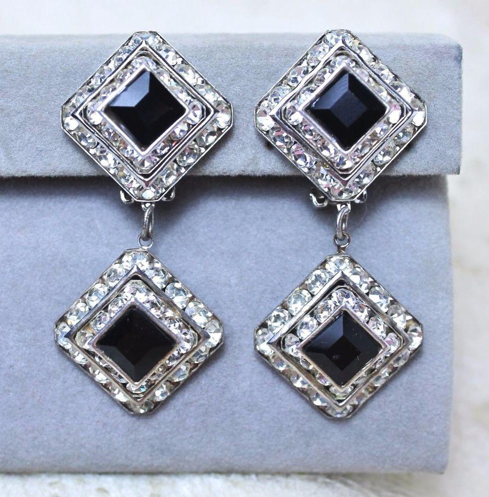 Vintage Faux Black Onyx Glass Rhinestone Dangle Drop Statement Earrings Unsigned