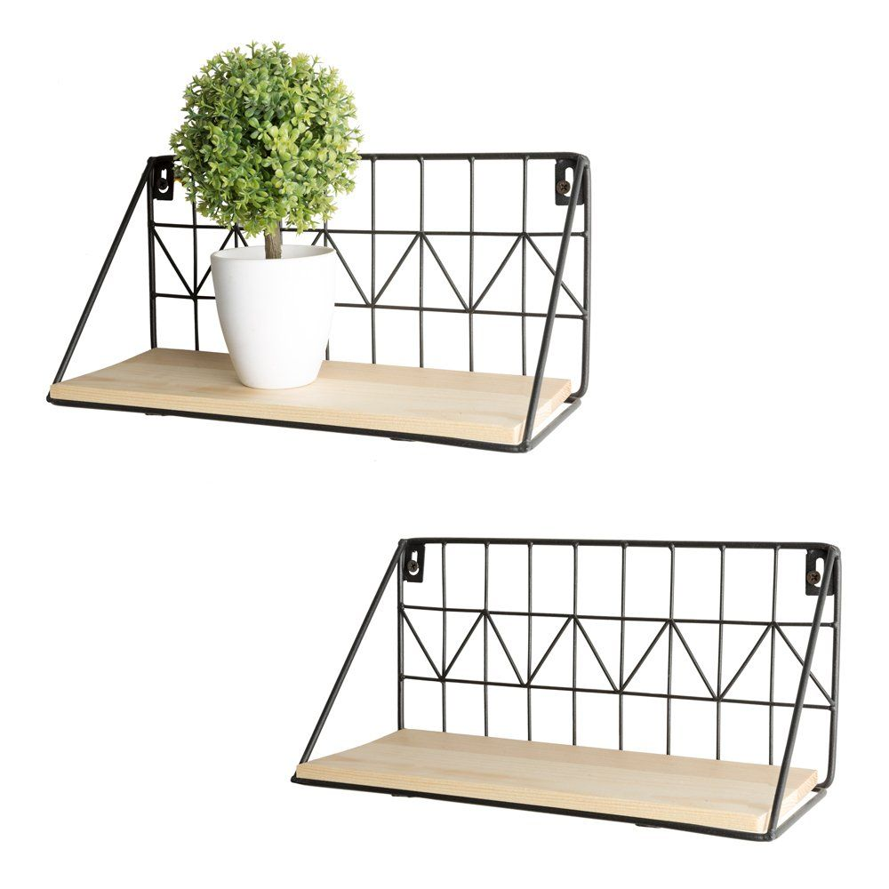 Mkono Floating Shelves Wall Mounted Set Of 2 Rustic Modern Wood Wall Storage Shelves With Metal Wire Display Shelf For Bedroom Living Room Bathroom Kitchen Off Floating Shelves Wire Storage Shelves