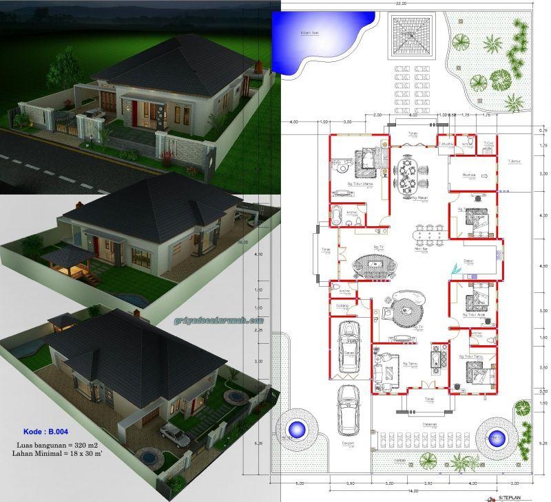 Denah Rumah Type 300 1 Lantai 4 Kamar Tidur Denah Rumah Desain Rumah Mungil Rumah
