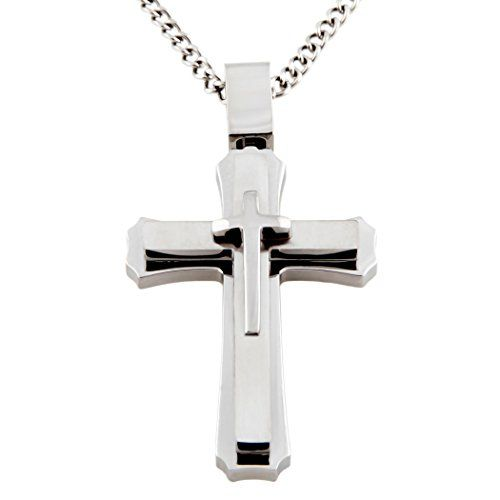Cross Necklace for Men & Women with Large Pendant and 24 Inch Curb Chain in Gift Box NyXAEDg2