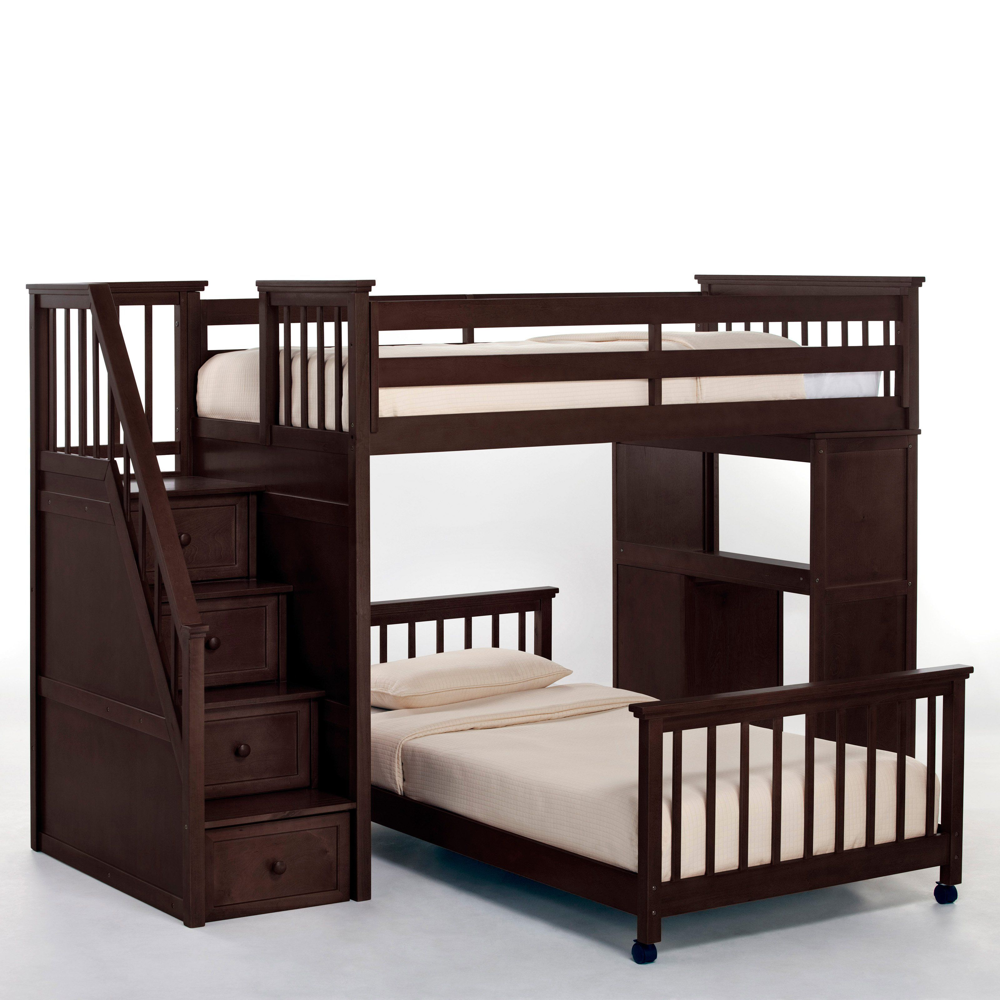 Loft bedroom staircase  Have to have it Schoolhouse Stairway Loft Bed  Chocolate