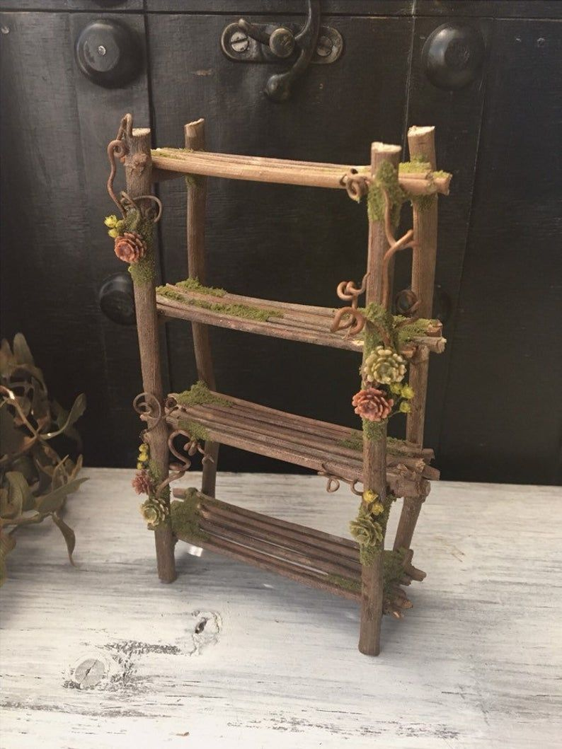 Faery Bookshelf Without Accessories Miniature Fairy Etsy In 2020 Fairy Furniture Fairy Garden Furniture Fairy Garden Diy