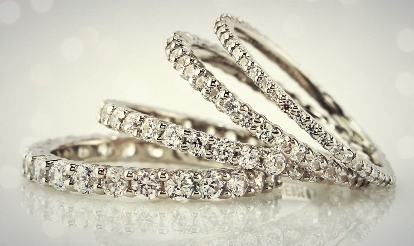 Full eternity band ring in mm mm mm and mm round stones