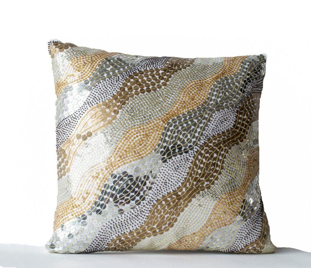 Excellent Decorative Throw Pillows Embroidered White Silk Accent Inzonedesignstudio Interior Chair Design Inzonedesignstudiocom
