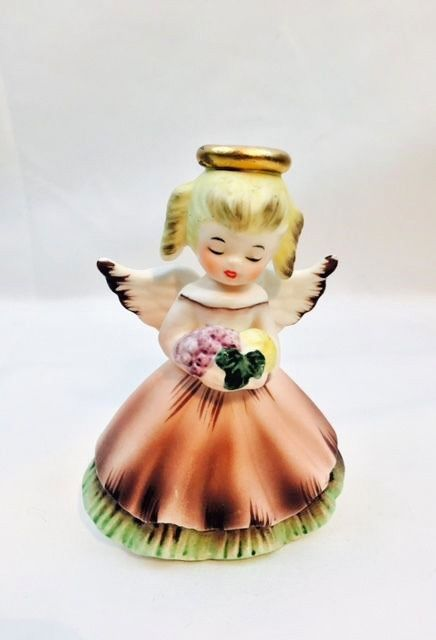 Vintage Inarco Angel November Birthday Girl Porcelain Figurine With Flowers 4""