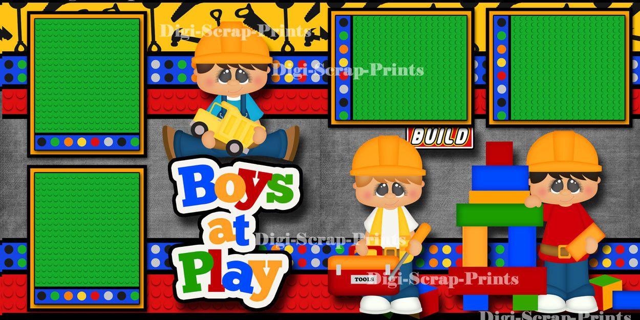 LEGO BOY Paper Piecing Premade Scrapbook Border Scrapbooking building block
