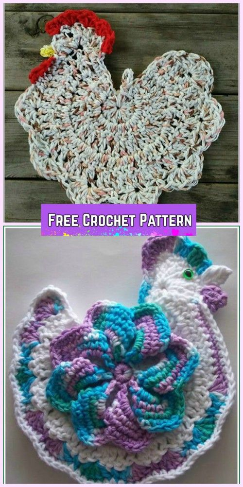 Crochet Easter Chicken Potholder Free Patterns | Patrones