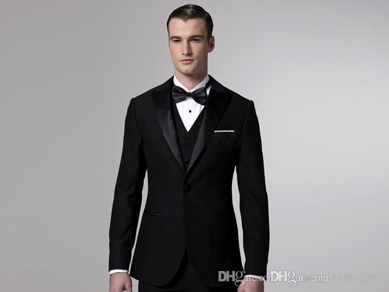 2014 Black Groom Tuxedos Men Wedding Suits Blazers Bridegroom ...