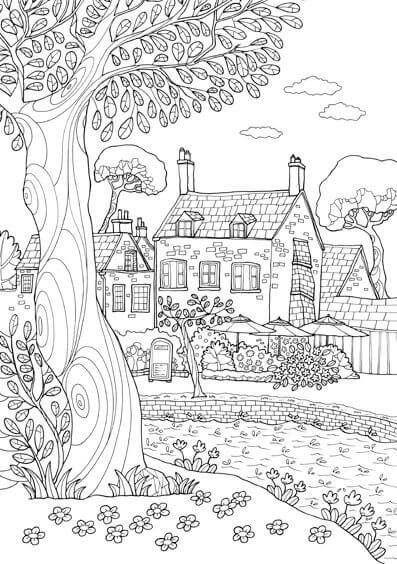 dibujos de paisajes para colorear e imprimir | Colour therapy