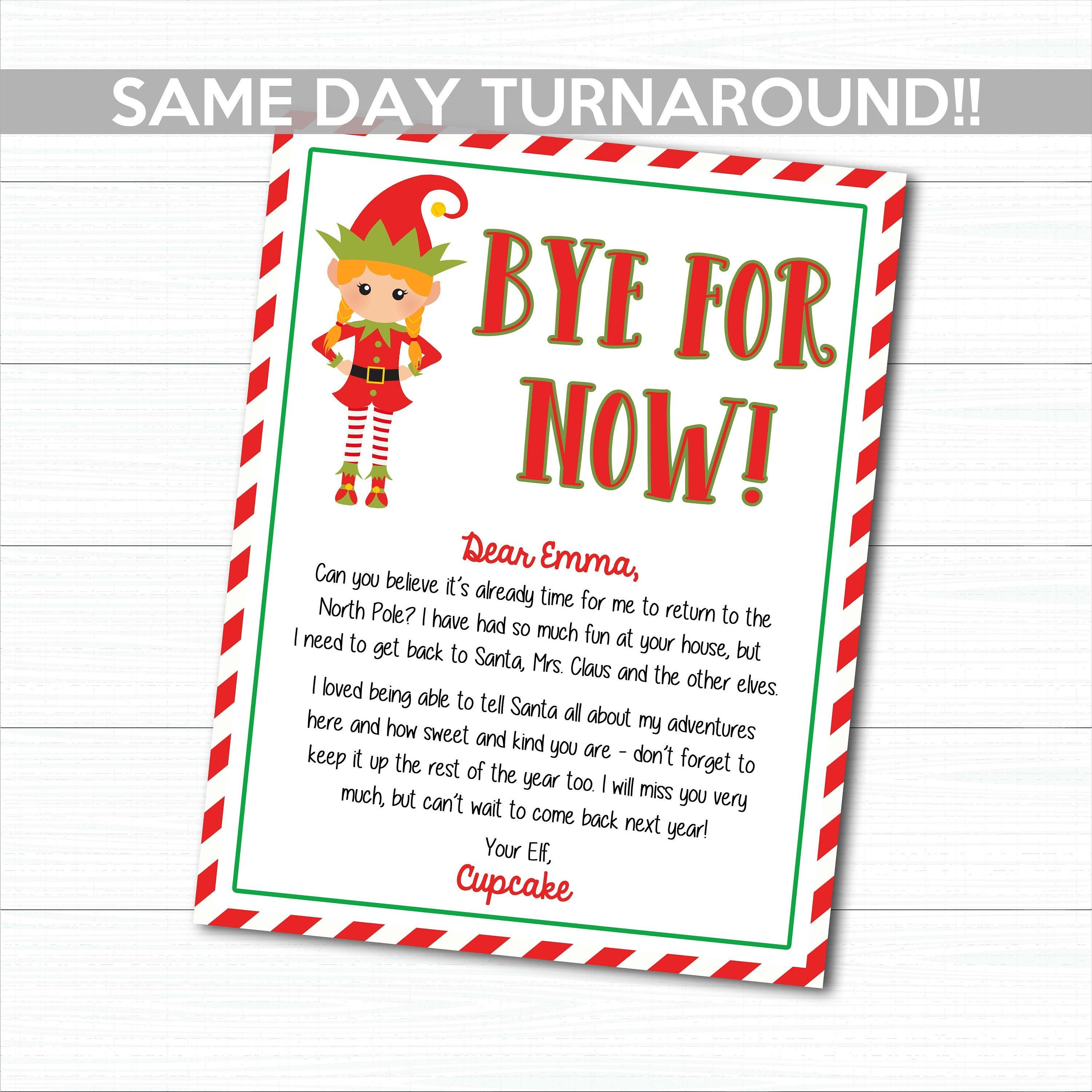 Personalized Elf Goodbye Letter, Personalized Elf Letters