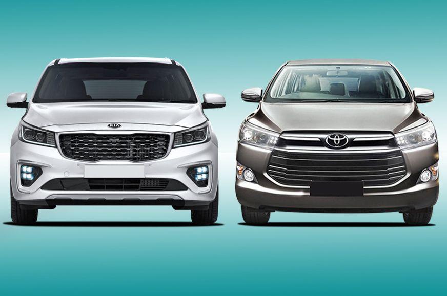 Kia Carnival Vs Toyota Innova Crysta Specifications Comparison In