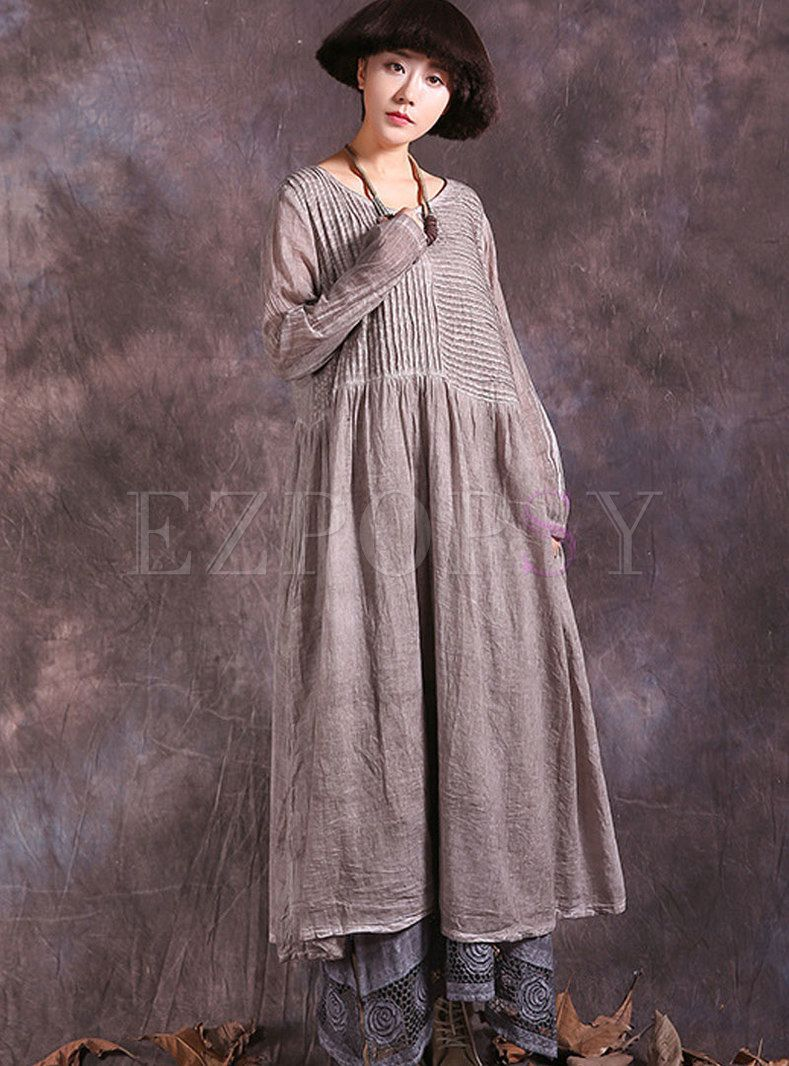 Vintage long sleeve shift shirred maxi dress clothes pinterest
