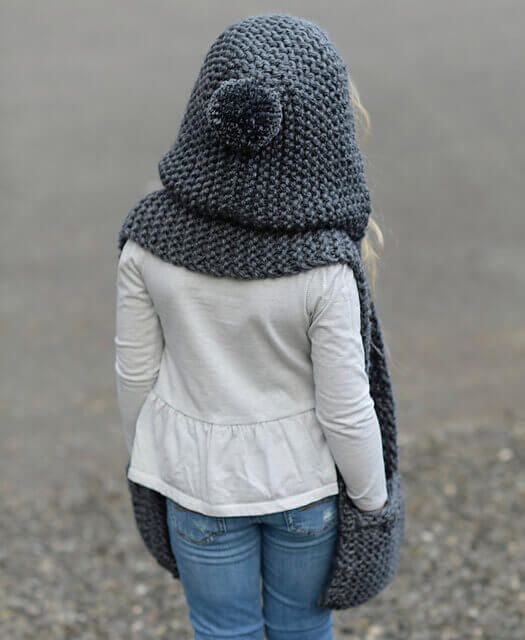 Шарф капюшон для девочки спицами (мк) | Вязунчик | Tejer ...