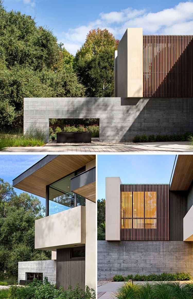 Dalles béton, bardage claire voie et fenêtres en alu noir dans le design
