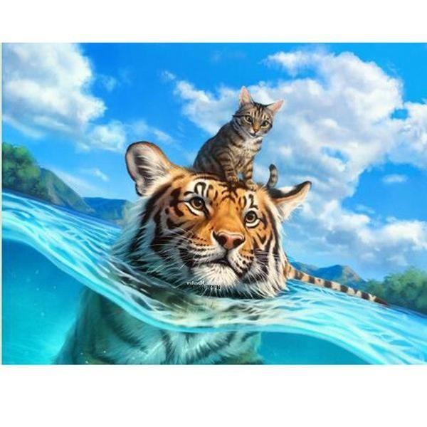 5D Diamond Painting Cat and the Tiger Kit   Diamond ...