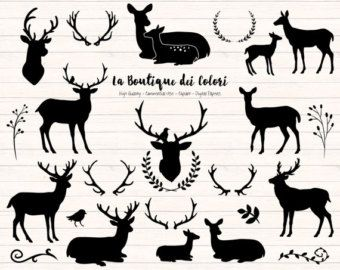 Black Deer Silhouette Clipart Cute Graphics PNG Christmas Head Doe Fawn Antlers Rustic Wedding Clip Art Commercial Use