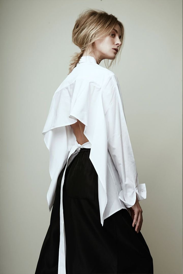 White shirt with open back detail; pattern cutting; contemporary ...