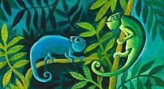 854 646 Hans Scherfig Two Chameleons Signed Scherfig 1950 Tempera On Masonite 25 X 44 Cm Jungle Book Painter Artist Tempera Art