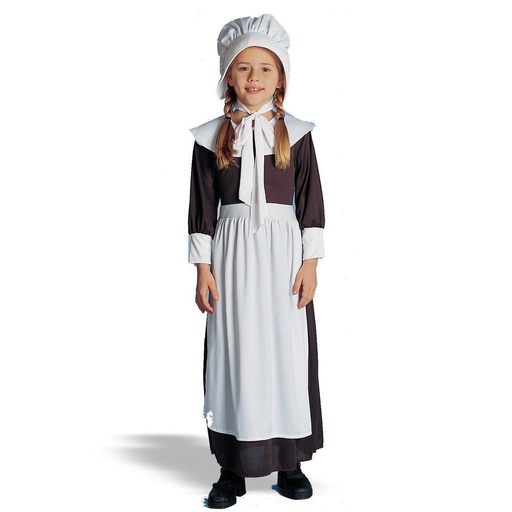 COLONIAL GIRL COSTUME CHILD PEASANT PILGRIM PIONEER PRAIRIE KIDS COSTUMES BONNET