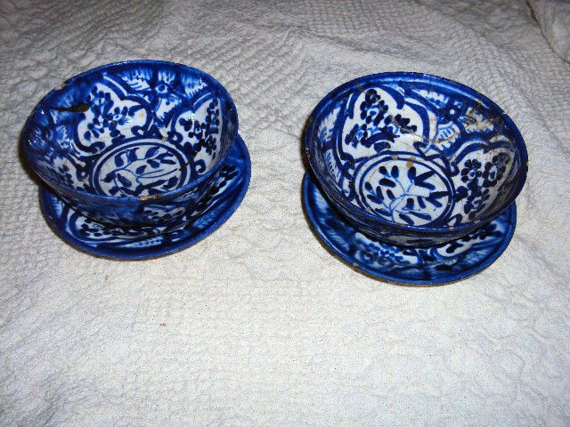 Antique 18/19thC Mexican Islamic Persian Blue White Pottery Bowl Plate Set of 2 & Antique 18/19thC Mexican Islamic Persian Blue White Pottery Bowl ...