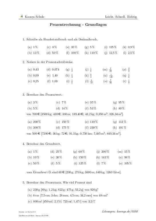 Prozentrechnung - Grundlagen Aufgaben mit Lösungen und