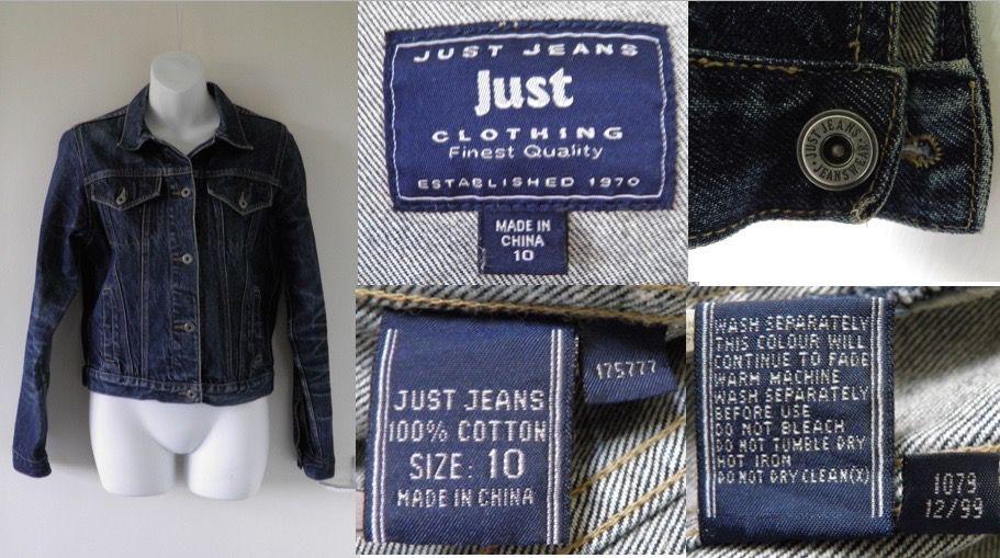 1990's Vintage (Dec 1999) JUST JEANS (Australia) Indigo Blue Stone Washed Denim Jacket Womens Ladies Size 10 Indie Grunge
