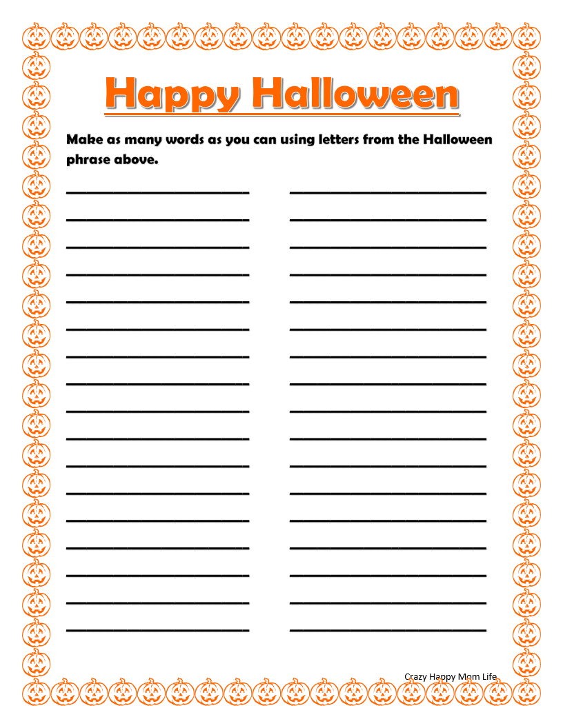 FREE Printable Halloween Word Games from Crazy Happy Mom ...