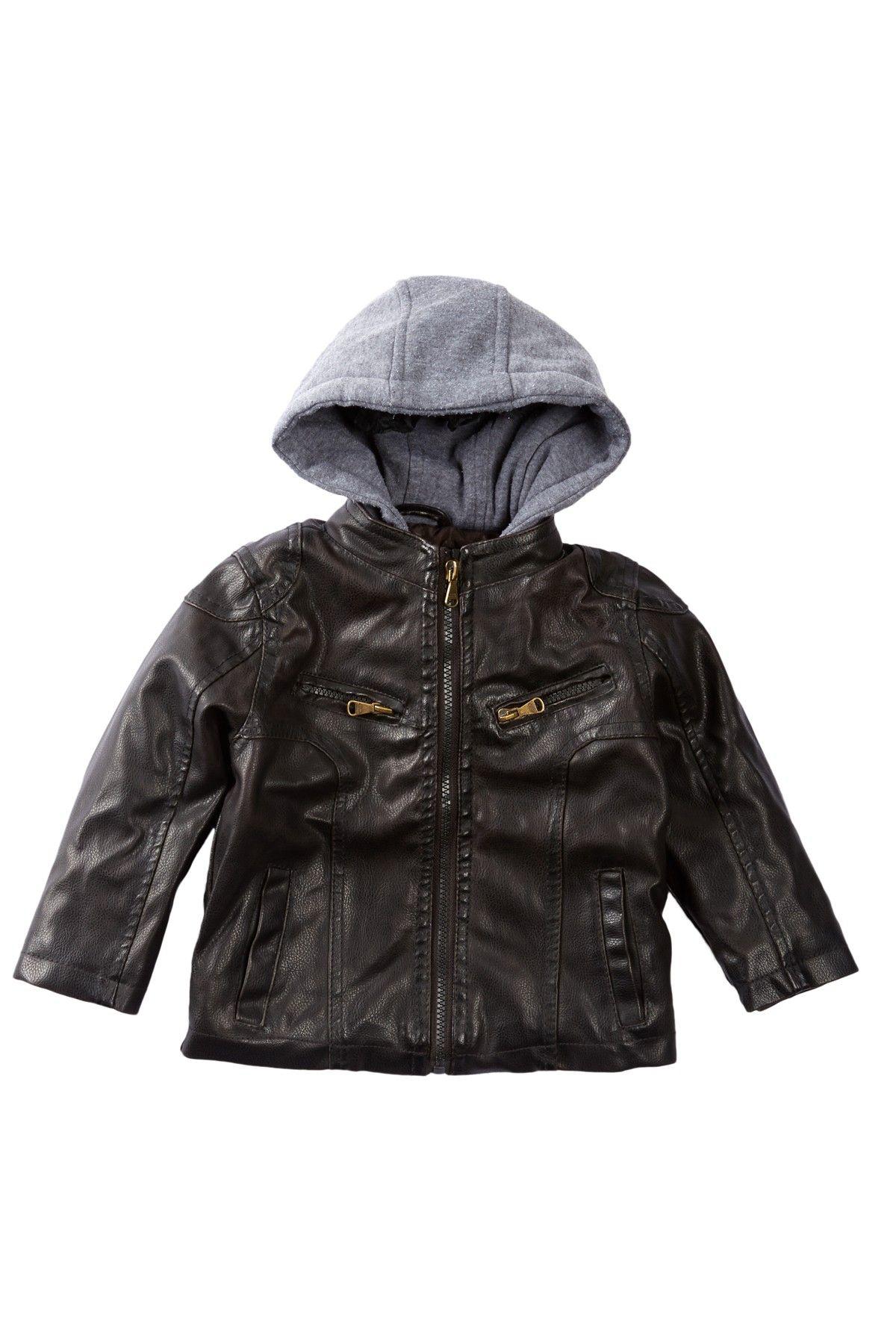 Urban Republic Faux Leather Moto Jacket with Fleece Hood