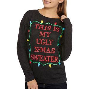 Holiday Time Juniors Long Sleeve Crew Neck Christmas Sweater
