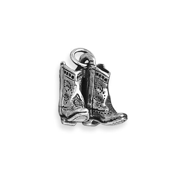 925 Sterling Silver Cowboy Boot Charm Made in USA