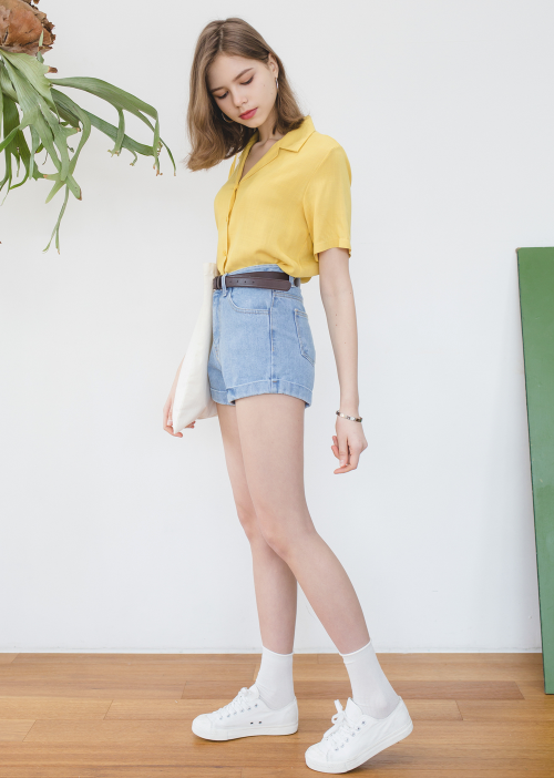 Essaycuffed Denim Shorts Mixxmix Korean Summer Outfits High Waisted Denim Shorts Outfit High Waisted Shorts Outfit