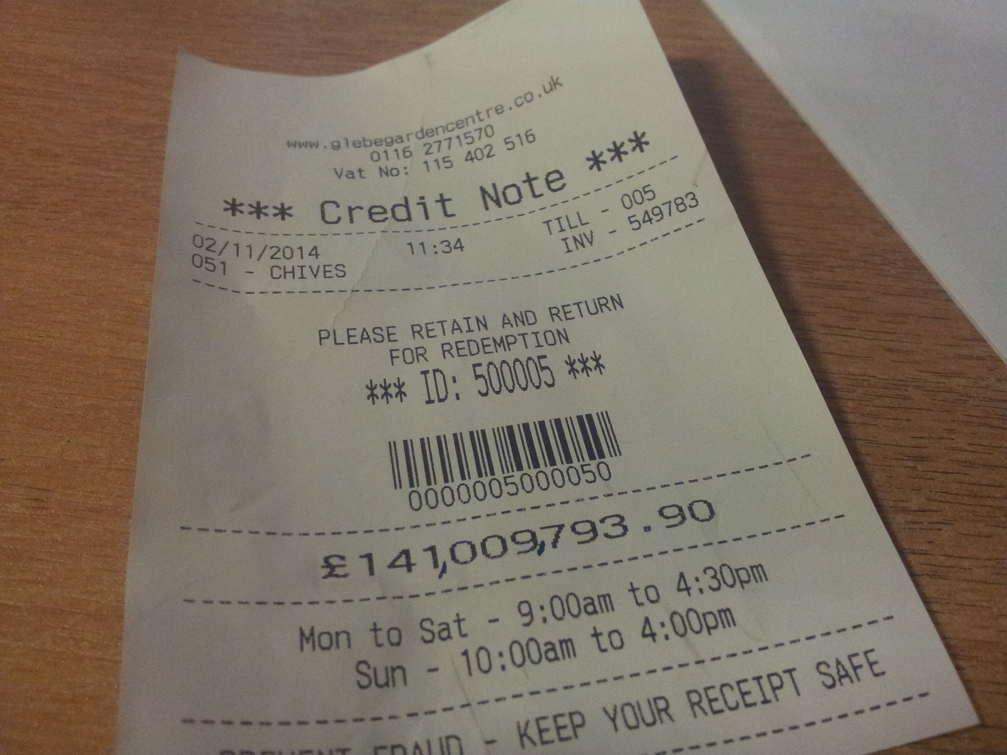 I think the cashier got a bit carried away. Credit note