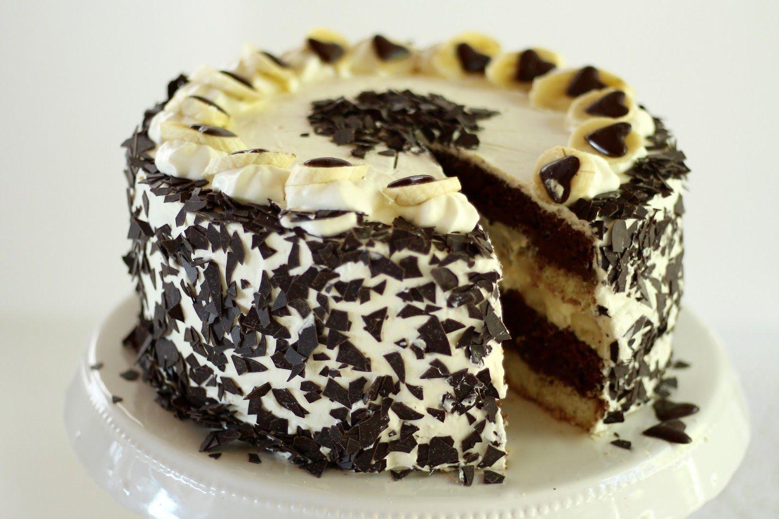 cake banane ka design Rezept für eine traumhafte Banana Split-Biskuit-Torte mit