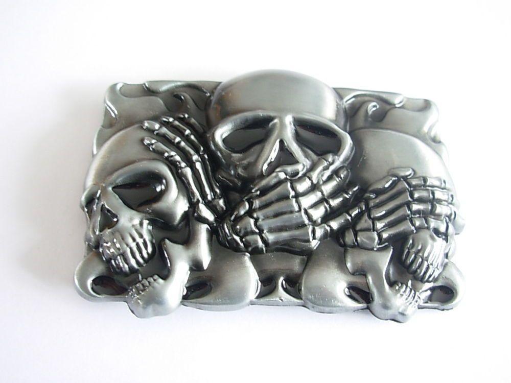 Skull Head Ghost Wings Cowboy Biker Men Belt Buckle Vintage Gothic Buckle