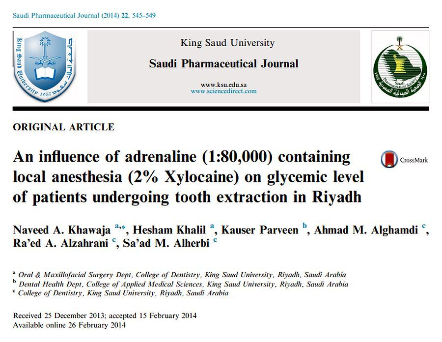 PDF: An influence of adrenaline (1:80,000) containing local anesthesia (2% Xylocaine) on glycemic level of patients undergoing tooth extraction in Riyadh