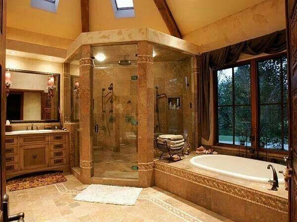 Jetted Garden Tub Huge Shower Stonework And Natural Lighting Wonderful Design Dream Bathrooms House Dream House