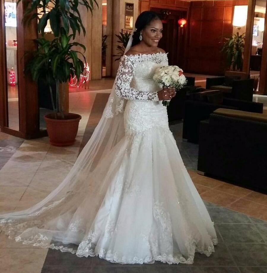 Click to Buy ucuc  New Sexy Mermaid Wedding Dresses Illusion Long