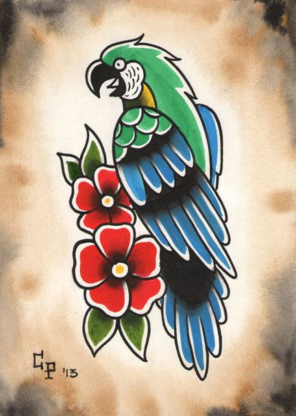 Traditional Parrot Tattoo Flash Painting By Christinaplatis Old