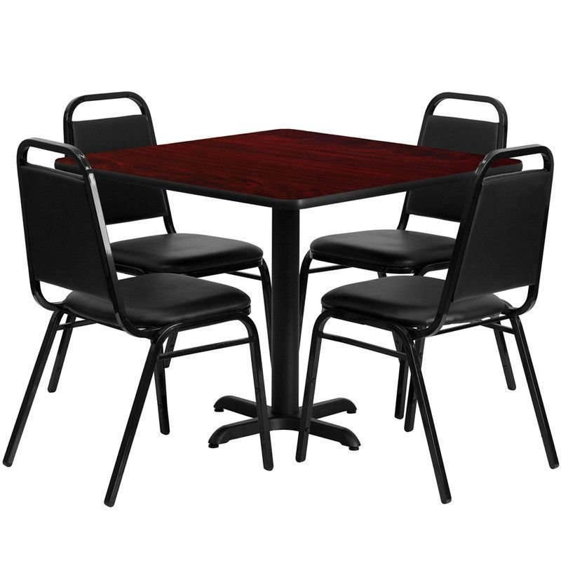 Flash Furniture HDBF1010-GG 36'' Square Mahogany Laminate Table Set with 4 Black Trapezoidal Back Banquet Chairs