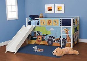 New Curtain Set Bunk Twin Slide Loft Bed Jungle Boys Furniture Kids