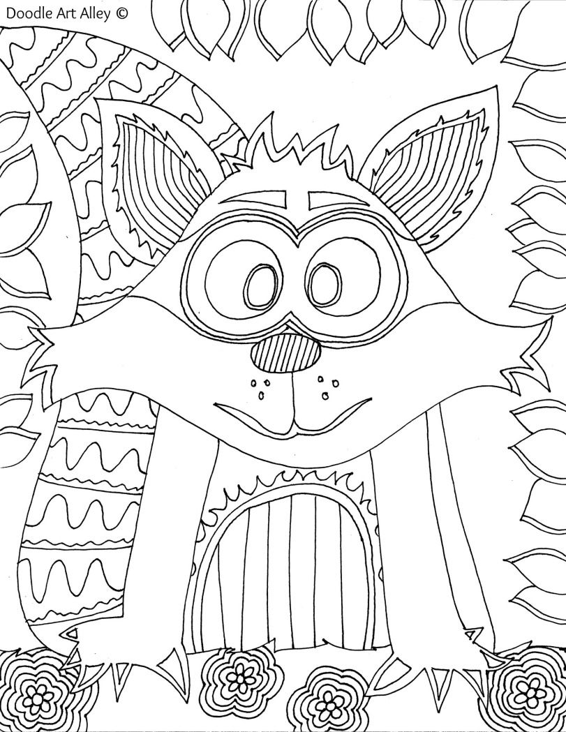 Forest animal coloring pages doodle art alley crafts for Doodle art alley coloring pages