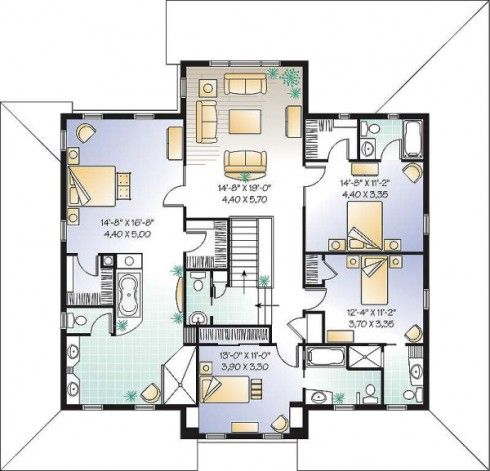 planos de casas de 2 pisos 4 habitaciones