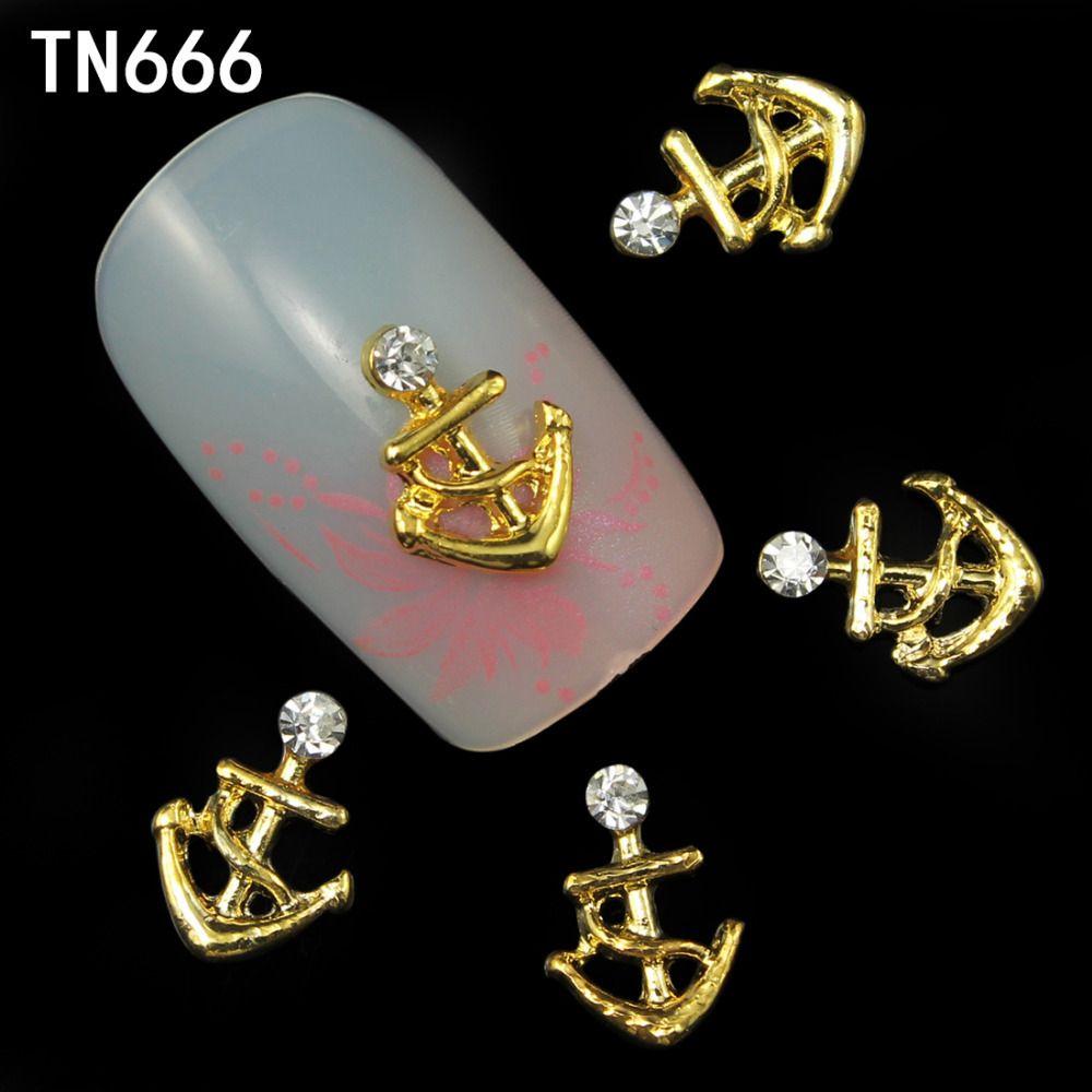 10 stücke nail art dekoration gold anker form glitter strass 3D ...