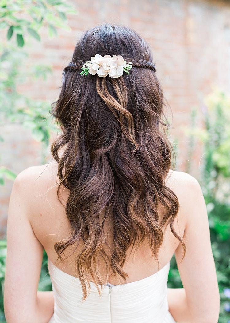 Romantic soft pastels barn wedding wavy curls bridesmaid hair and