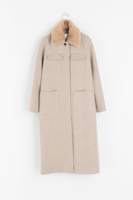 Detachable Collar Wool Coat, Beige | Style Dreams | Pinterest ...