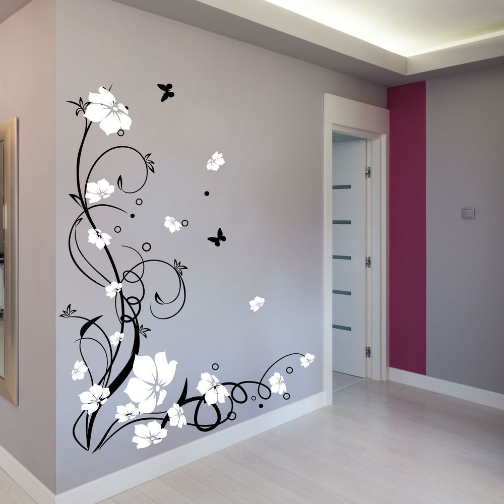 Details Zu Large Flower Butterfly Vine Wall Stickers Wall Decals