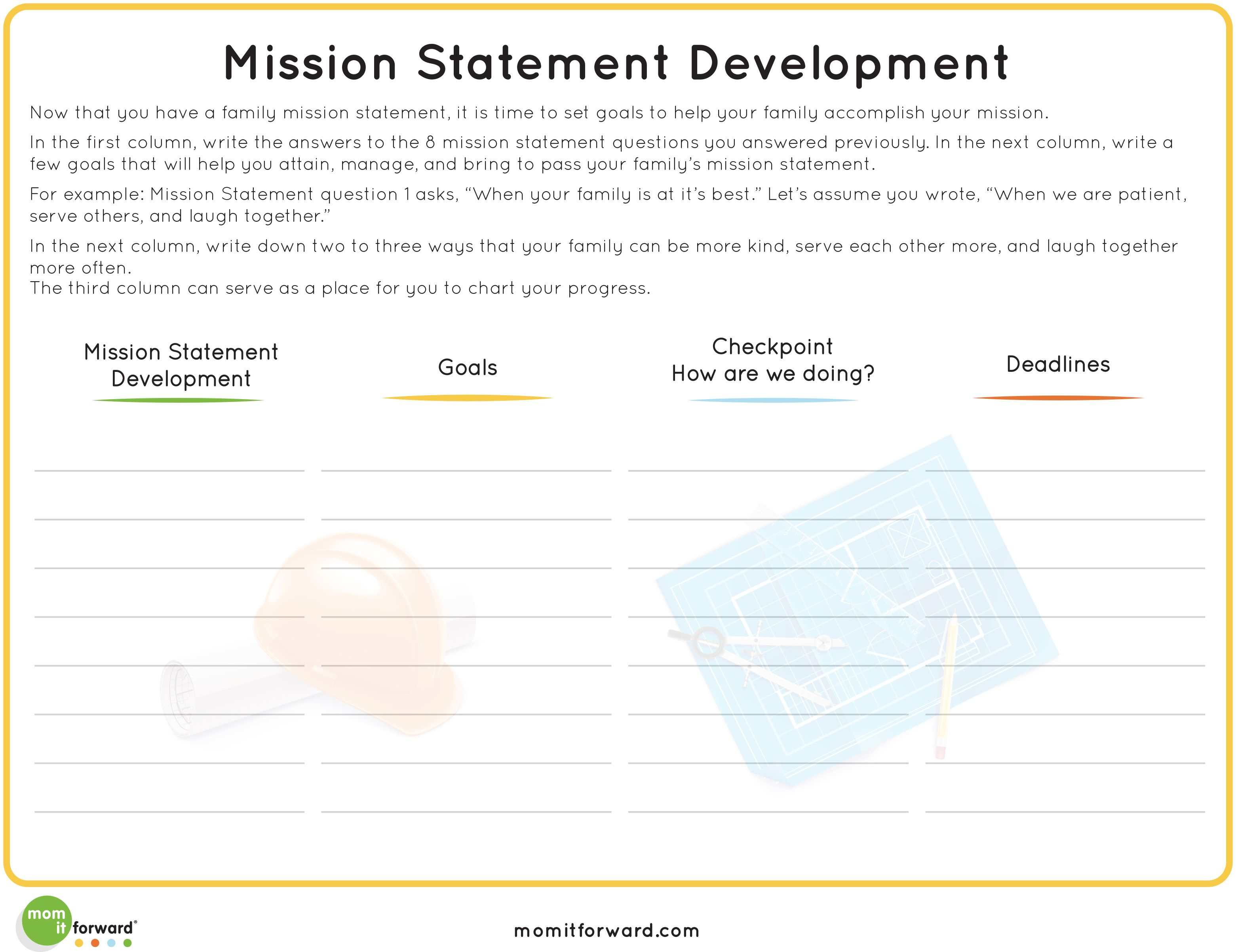 Printable Developing Your Family Mission Statement Family