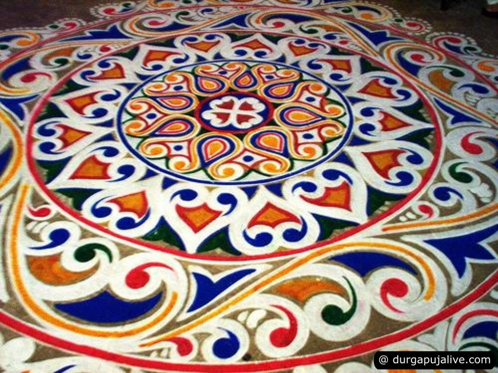 Durga puja alpana designs alpana pinterest durga for Floor rangoli design