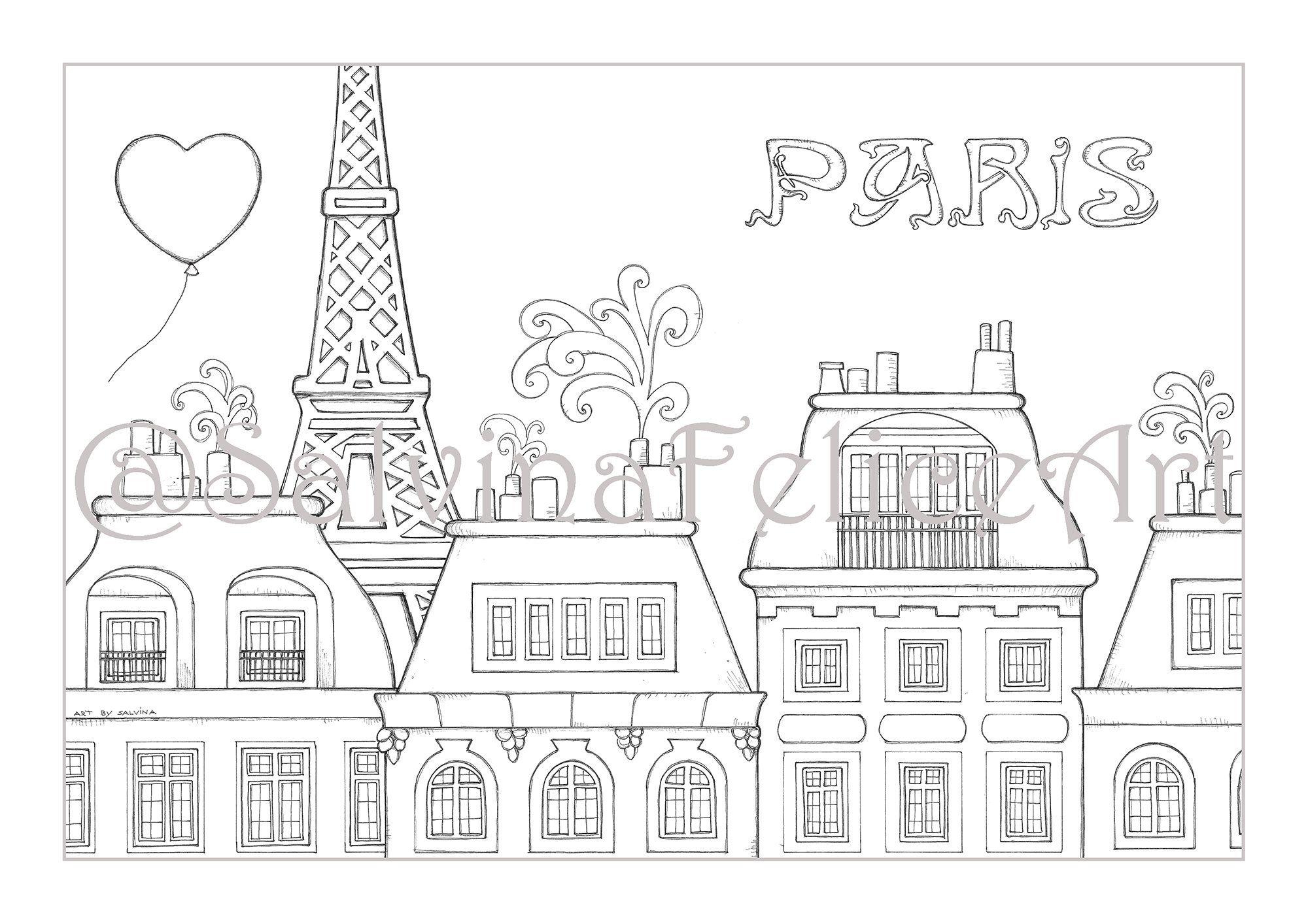 Download Stampa Digitale Del Mio Disegno Originale Al Tratto Paris Da Colorare Scaricabile Subito Paesaggio Urbano Parigi Da Colorare In 2020 Home Decor Decals Art Decor