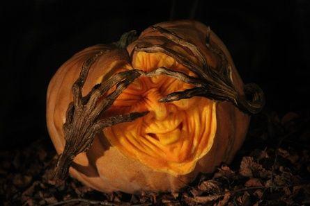 Halloween-Shy Pumpkin Sculpture by Michael B